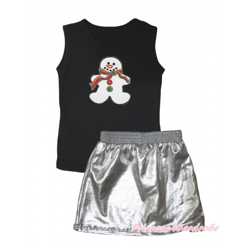 Black Tank Top Christmas Gingerbread Snowman Print & Silver Grey Girls Skirt Set MG2542
