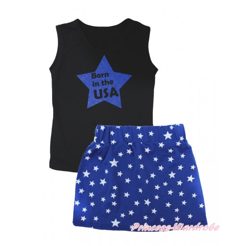 American's Birthday Black Tank Top Born In The USA Blue Star Painting & Royal Blue White Star Girls Skirt Set MG2545