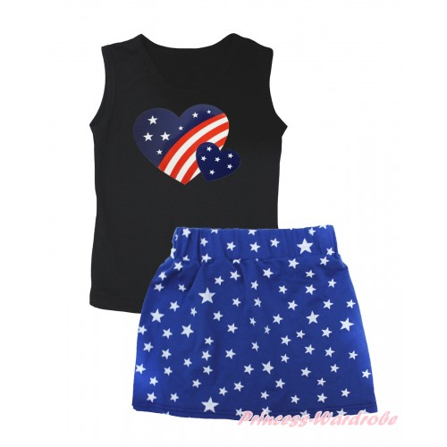 American's Birthday Black Tank Top Patriotic American Heart Painting & Royal Blue White Star Girls Skirt Set MG2546