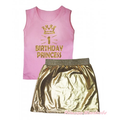 Light Pink Tank Top Sparkle 1st Birthday Princess Crown Painting & Gold Girls Skirt Set MG2549