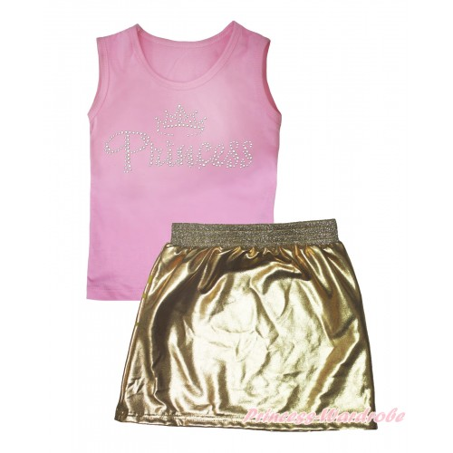 Light Pink Tank Top Sparkle Rhinestone Princess Print & Gold Girls Skirt Set MG2551
