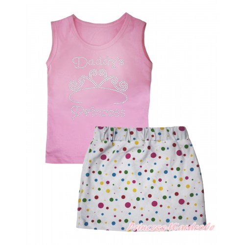 Light Pink Tank Top Sparkle Rhinestone Daddy's Princess Print & White Rainbow Dots Girls Skirt Set MG2556