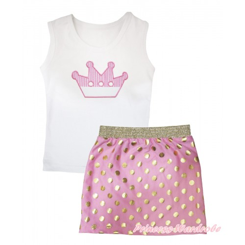White Tank Top Crown Print & Light Pink Gold Dots Girls Skirt Set MG2570