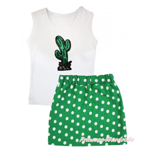 Cinco De Mayo White Tank Top Sparkle Sequins Cactus Print & Kelly Green White Dots Girls Skirt Set MG2585