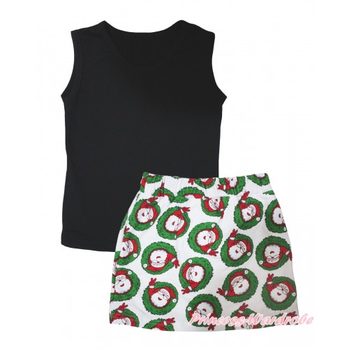 Black Tank Top & Xmas Santa Claus Girls Skirt Set MG2593