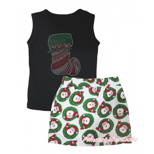 Christmas Black Tank Top Sparkle Rhinestone Christmas Stocking Print & Xmas Santa Claus Girls Skirt Set MG2596