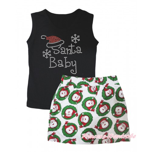 Christmas Black Tank Top Sparkle Rhinestone Santa Baby Print & Xmas Santa Claus Girls Skirt Set MG2597