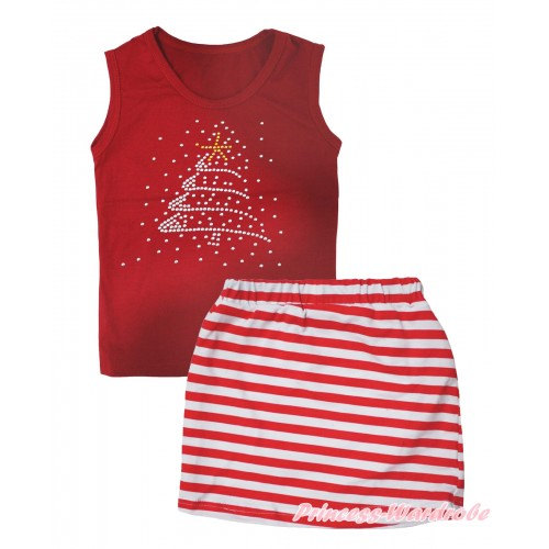 Christmas Red Tank Top Rhinestone Christmas Tree Print & Red White Striped Girls Skirt Set MG2614
