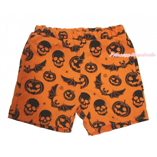 Halloween Orange Pumpkin Bat Skeleton Cotton Short Panties PS049