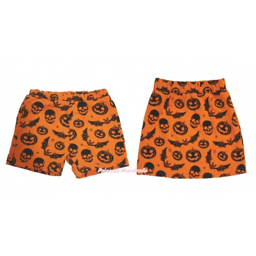 Halloween Orange Pumpkin Bat Skeleton Cotton Short Panties & Skirt 2 Piece Set PS050