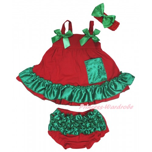 Red Kelly Green Swing Top Light Green Bow & Panties Bloomers & Headband SP46