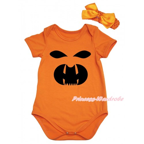 Halloween Orange Baby Jumpsuit & Black Ghost Face Painting & Orange Headband Bow TH774