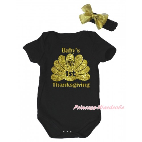 Thanksgiving Black Baby Jumpsuit & Sparkle Baby's 1st Thanksgiving Painting & Black Headband Gold Bow TH776