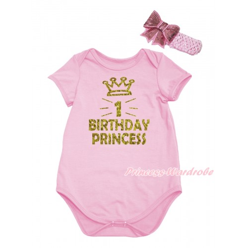 Light Pink Baby Jumpsuit & Sparkle First Birthday Princess Painting & Light Pink Headband Sequins Bow TH777