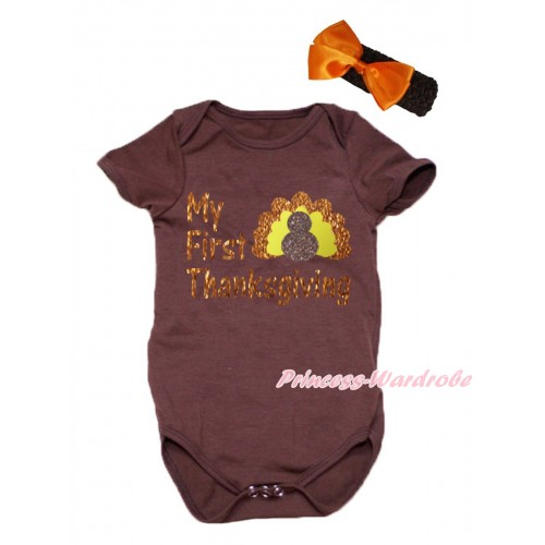 Thanksgiving Brown Baby Jumpsuit & Sparkle My First Thanksgiving Turkey Painting & Black Headband Orange Bow TH778