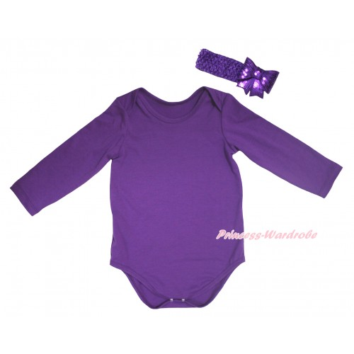 Dark Purple Baby Jumpsuit & Dark Purple Headband Sparkle Sequins Bow TH779