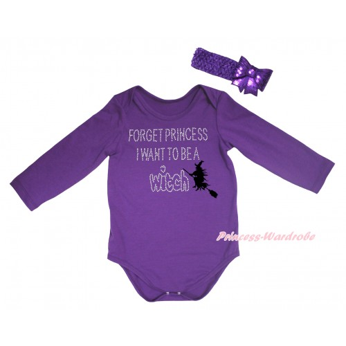 Halloween Dark Purple Baby Jumpsuit & Rhinestone Forget Princess I Want To Be A Witch Print & Dark Purple Headband Sparkle Sequins Bow TH782