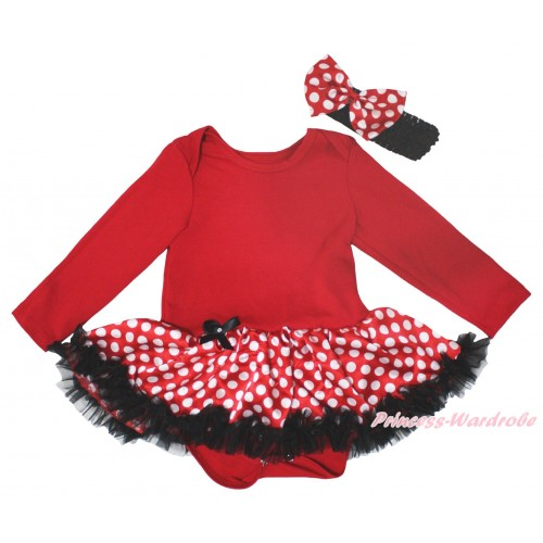 Red Long Sleeve Baby Bodysuit Jumpsuit MInnie Dots Black Pettiskirt JS5647