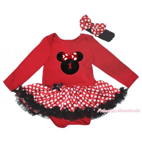 Red Long Sleeve Baby Bodysuit Jumpsuit MInnie Dots Black Pettiskirt & 1st Birthday Number Minnie Print JS5649