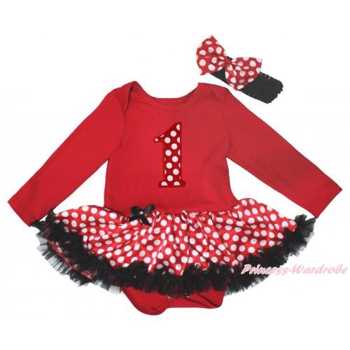 Red Long Sleeve Baby Bodysuit Jumpsuit MInnie Dots Black Pettiskirt & 1st Minnie Dots Birthday Number Print JS5650