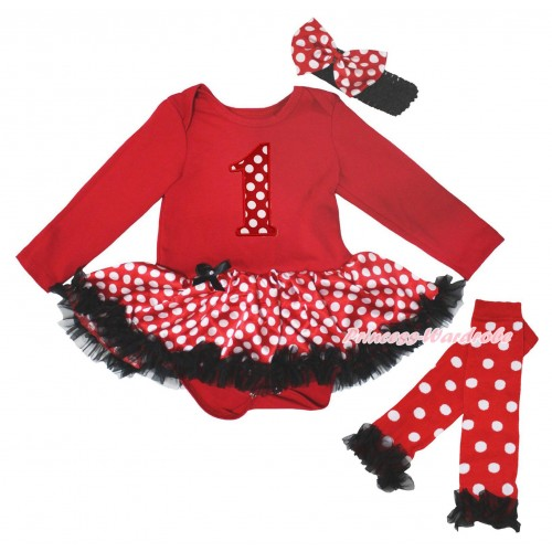 Red Long Sleeve Baby Bodysuit Jumpsuit Minnie Dots Black Pettiskirt & 1st Minnie Dots Birthday Number Print & Warmers Leggings JS5723