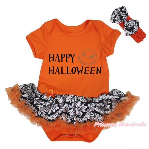 Halloween Orange Baby Bodysuit Orange Damask Pettiskirt & Happy Halloween Painting & Jack Print JS5747
