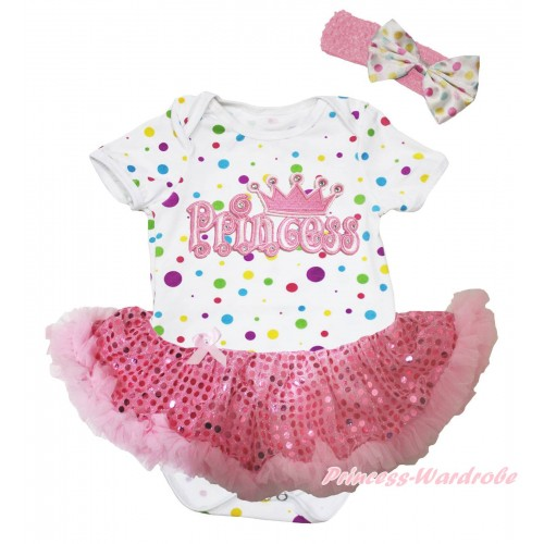 White Rainbow Dots Baby Bodysuit Light Pink Sequins Pettiskirt & Princess Print JS5757