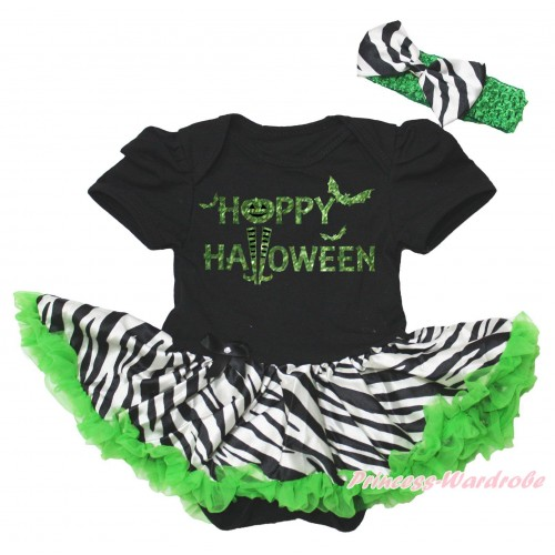 Halloween Black Baby Bodysuit Zebra Dark Green Pettiskirt & Sparkle Happy Halloween Painting JS5760