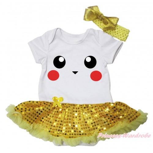 White Baby Bodysuit Bling Yellow Sequins Pettiskirt & Pikachu Print JS5761
