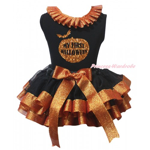 Halloween Black Pettitop Sparkle Brown Lacing & Sparkle My First Halloween Pumpkin Painting & Black Sparkle Brown Trimmed Pettiskirt MG2415