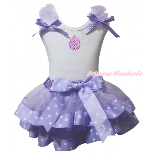 White Pettitop Lavender Ruffles Lavender White Dots Bow & Sparkle Rhinestone Necklace Print & Lavender White Dots Trimmed Pettiskirt MG2442