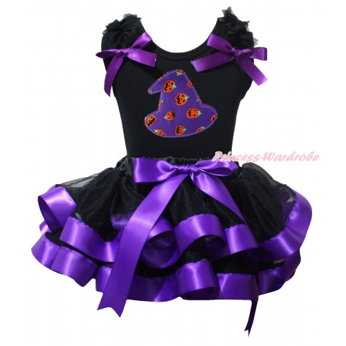 Halloween Black Pettitop Black Ruffles Dark Purple Bow & Halloween Hat Print & Black Dark Purple Trimmed Pettiskirt MG2455