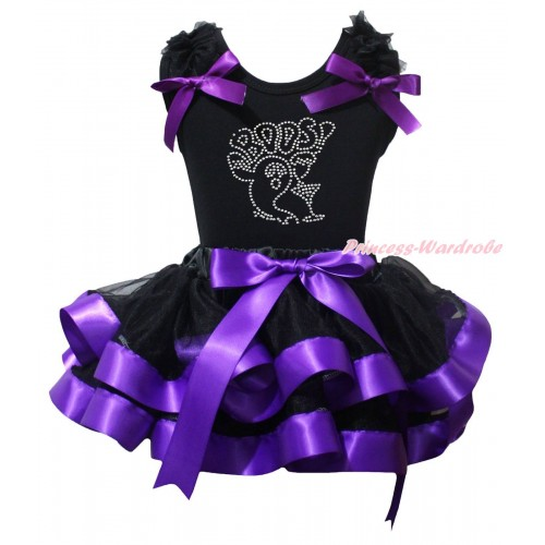 Halloween Black Pettitop Black Ruffles Dark Purple Bow & Sparkle Rhinestone BOOS! Print & Black Dark Purple Trimmed Pettiskirt MG2458