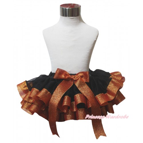 Black Sparkle Brown Trimmed Newborn Baby Pettiskirt & Bow N316
