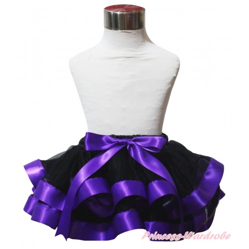 Black Dark Purple Trimmed Newborn Baby Pettiskirt & Bow N317