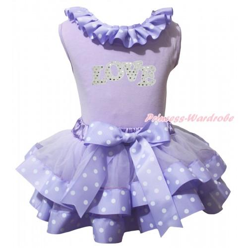 Lavender Baby Pettitop Lavender White Dots Lacing & Sparkle White LOVE Print & Lavender White Dots Trimmed Newborn Pettiskirt NG2224