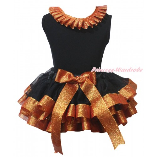Black Baby Pettitop Sparkle Brown Lacing & Black Sparkle Brown Trimmed Newborn Pettiskirt NG2226