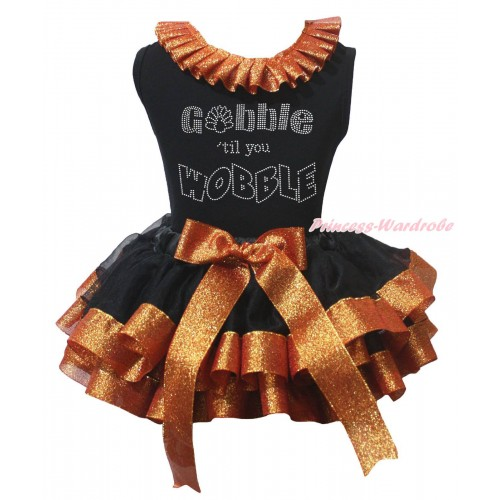 Thanksgiving Black Baby Pettitop Sparkle Brown Lacing & Rhinestone Gobble Till You Wobble Paint & Black Sparkle Brown Trimmed Newborn Pettiskirt NG2228