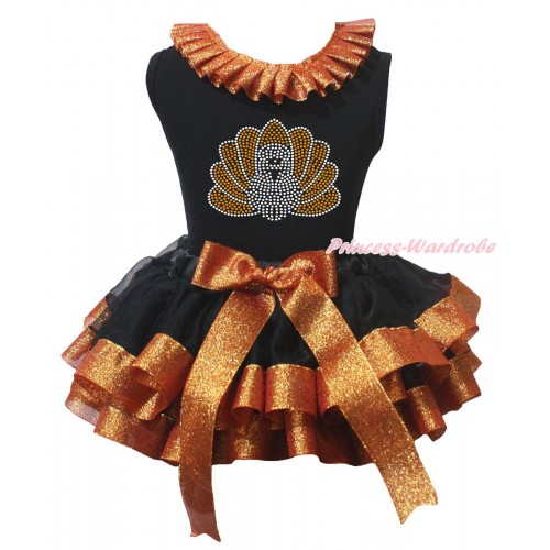 Thanksgiving Baby Black Pettitop Sparkle Brown Lacing & Rhinestone Turkey Print & Black Sparkle Brown Trimmed Newborn Pettiskirt NG2229