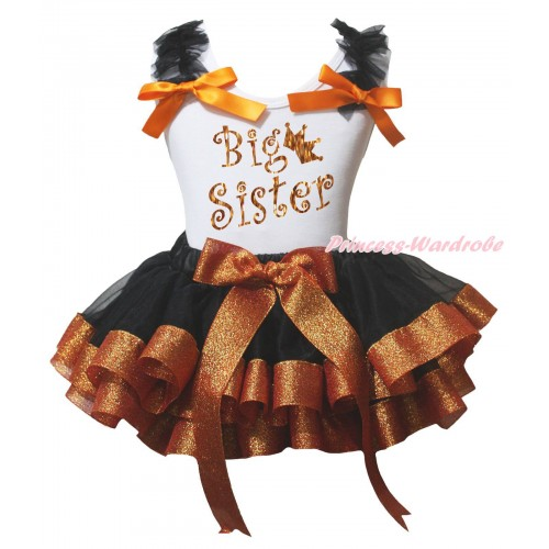 White Baby Pettitop Black Ruffles Orange Bow & Sparkle Big Sister Painting & Black Sparkle Brown Trimmed Newborn Pettiskirt NG2234