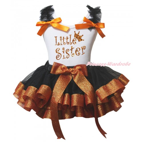White Baby Pettitop Black Ruffles Orange Bow & Sparkle Little Sister Painting & Black Sparkle Brown Trimmed Newborn Pettiskirt NG2235
