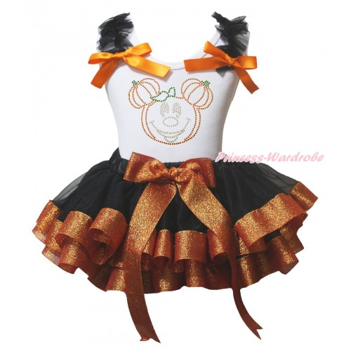 Halloween White Baby Pettitop Black Ruffles Orange Bow & Sparkle Rhinestone Pumpkin Mickey Print & Black Sparkle Brown Trimmed Newborn Pettiskirt NG2236