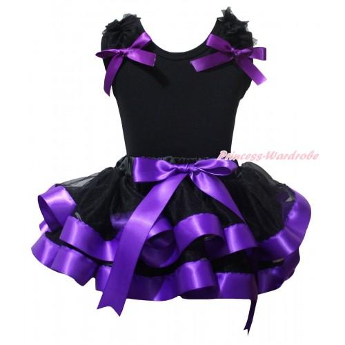 Black Baby Pettitop Black Ruffles Dark Purple Bow & Black Dark Purple Trimmed Newborn Pettiskirt NG2242