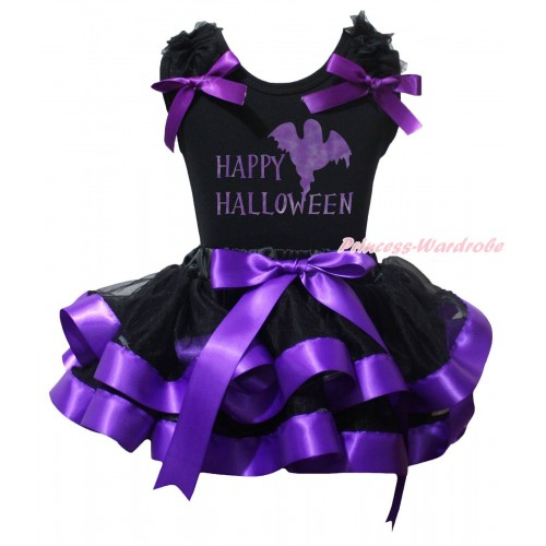 Halloween Black Baby Pettitop Black Ruffles Dark Purple Bow & Happy Halloween Painting & Black Dark Purple Trimmed Newborn Pettiskirt NG2243