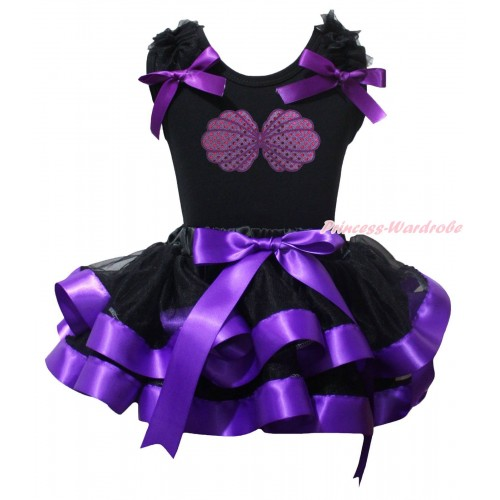 Black Baby Pettitop Black Ruffles Dark Purple Bow & Mermaid Sea Shell Bra & Black Dark Purple Trimmed Newborn Pettiskirt NG2244
