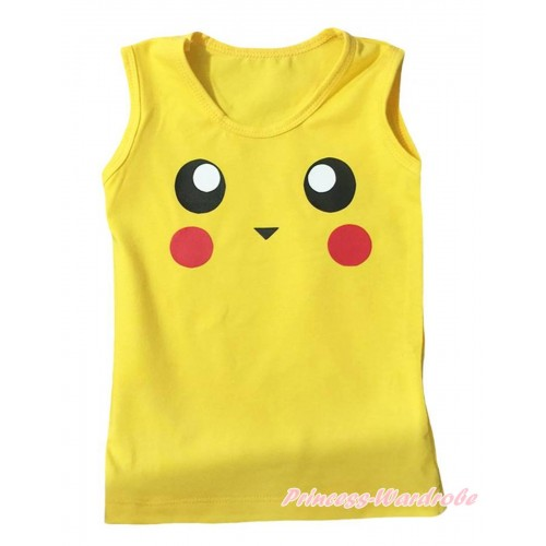 Yellow Tank Top With Pikachu Print TB1496