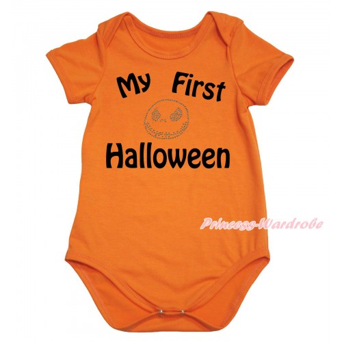 Halloween Orange Baby Jumpsuit & My First Halloween Painting & Jack Print TH762