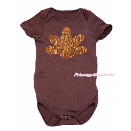 Thanksgiving Brown Baby Jumpsuit & Sparkle Turkey Painting TH764