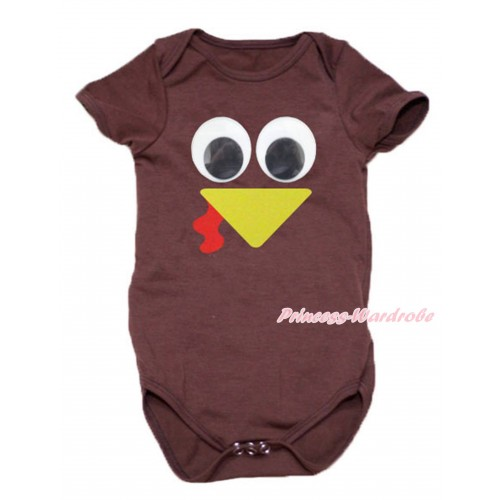 Thanksgiving Brown Baby Jumpsuit & Turkey Face Print TH765