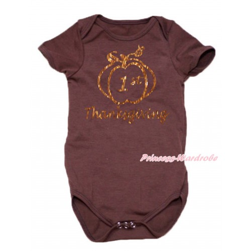 Thanksgiving Brown Baby Jumpsuit & Sparkle 1st Thanksgiving Painting TH767